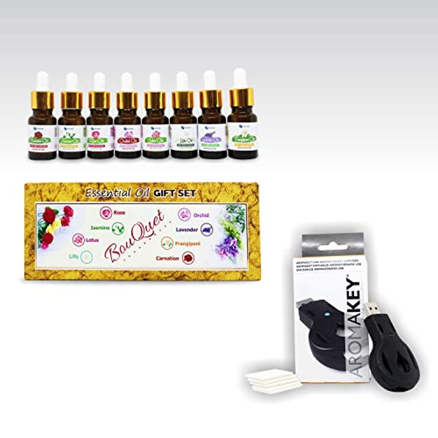 円形試みかすかなAromatherapy Essential Oils - Bouquet Set (Pack of 8) 100% Pure & Natural Plus Aromakey USB Personal Diffuser,...
