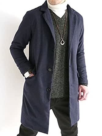 (オークランド) Oakland 起毛 ヘリンボーン チェスターコート 中綿 ロングコート ダウン デザイン 防寒 メンズ ネイビー XLサイズ