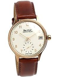 [ザ・スタック] The STAC 日本製 腕時計 ウォッチ Authentic Round 36mm ピンクゴールド/ブラウン クラシック メンズ レディース