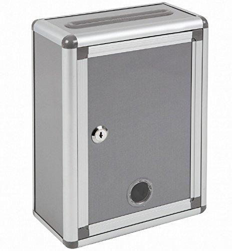 『Aoakua 鍵付きBOX 募金箱 / 応募箱 / 投票箱 / アンケートボックス シルバーグレー W22cm』のトップ画像