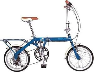 KIKI16インチ6スピード折り畳み自転車 ブルー 16インチ KI-166 BL