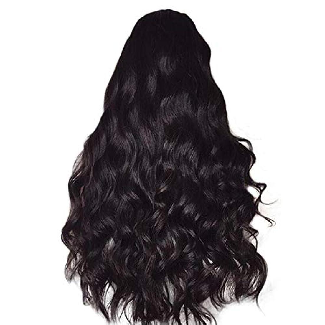 クリーム解釈的住居女性のかつら長い巻き毛黒ふわふわビッグウェーブウィッグ65 cm