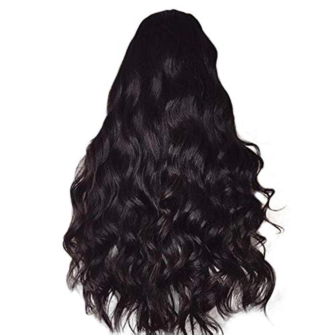 沈黙ジャンク電圧女性のかつら長い巻き毛黒ふわふわビッグウェーブウィッグ65 cm