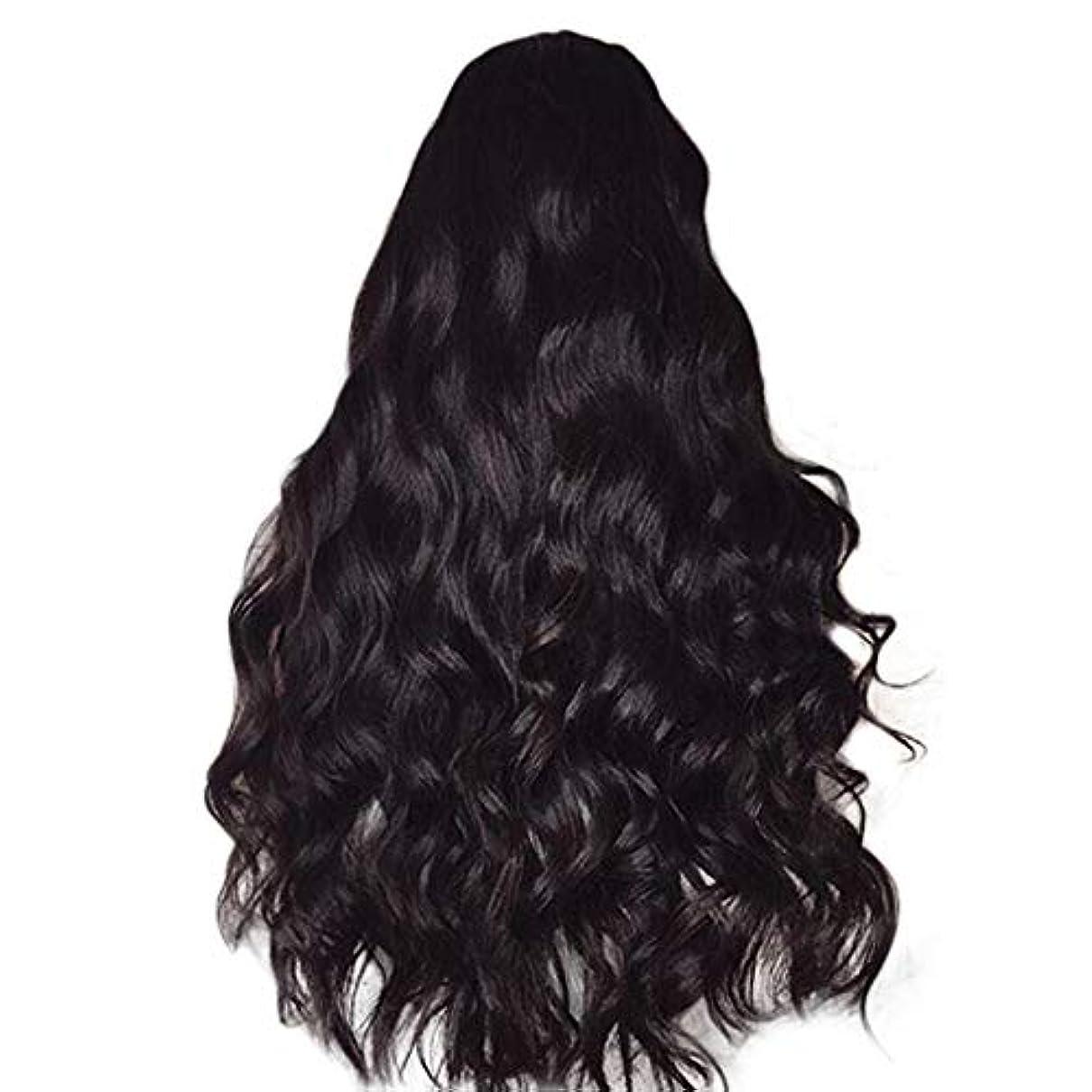誇大妄想返還スーパー女性のかつら長い巻き毛黒ふわふわビッグウェーブウィッグ65 cm