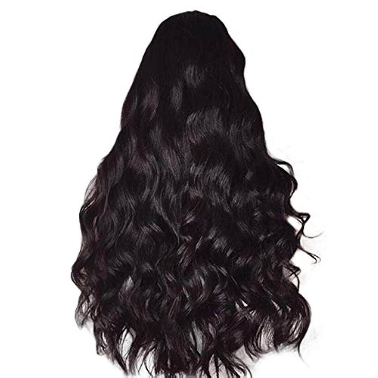交流する削るトランスミッション女性のかつら長い巻き毛黒ふわふわビッグウェーブウィッグ65 cm