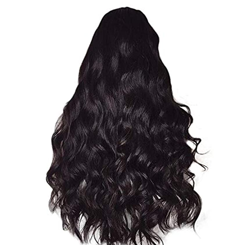 決定ファイナンス壮大女性のかつら長い巻き毛黒ふわふわビッグウェーブウィッグ65 cm