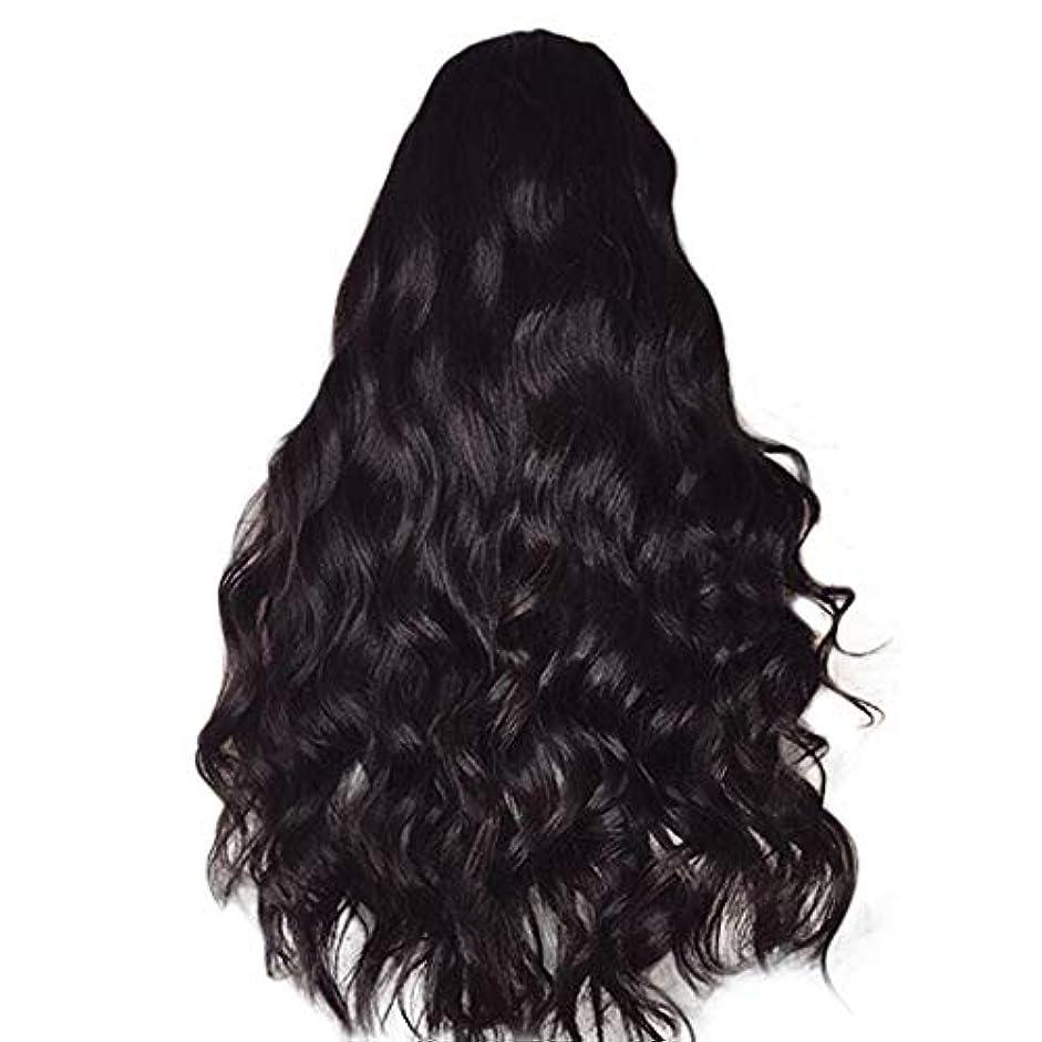 ラバ広い作る女性のかつら長い巻き毛黒ふわふわビッグウェーブウィッグ65 cm