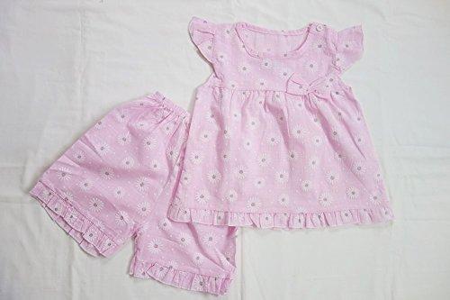 ベビー キッズ 可愛い お花 模様 部屋着 パジャマ 夏服 女の子 向け (110㎝, ピンク) …
