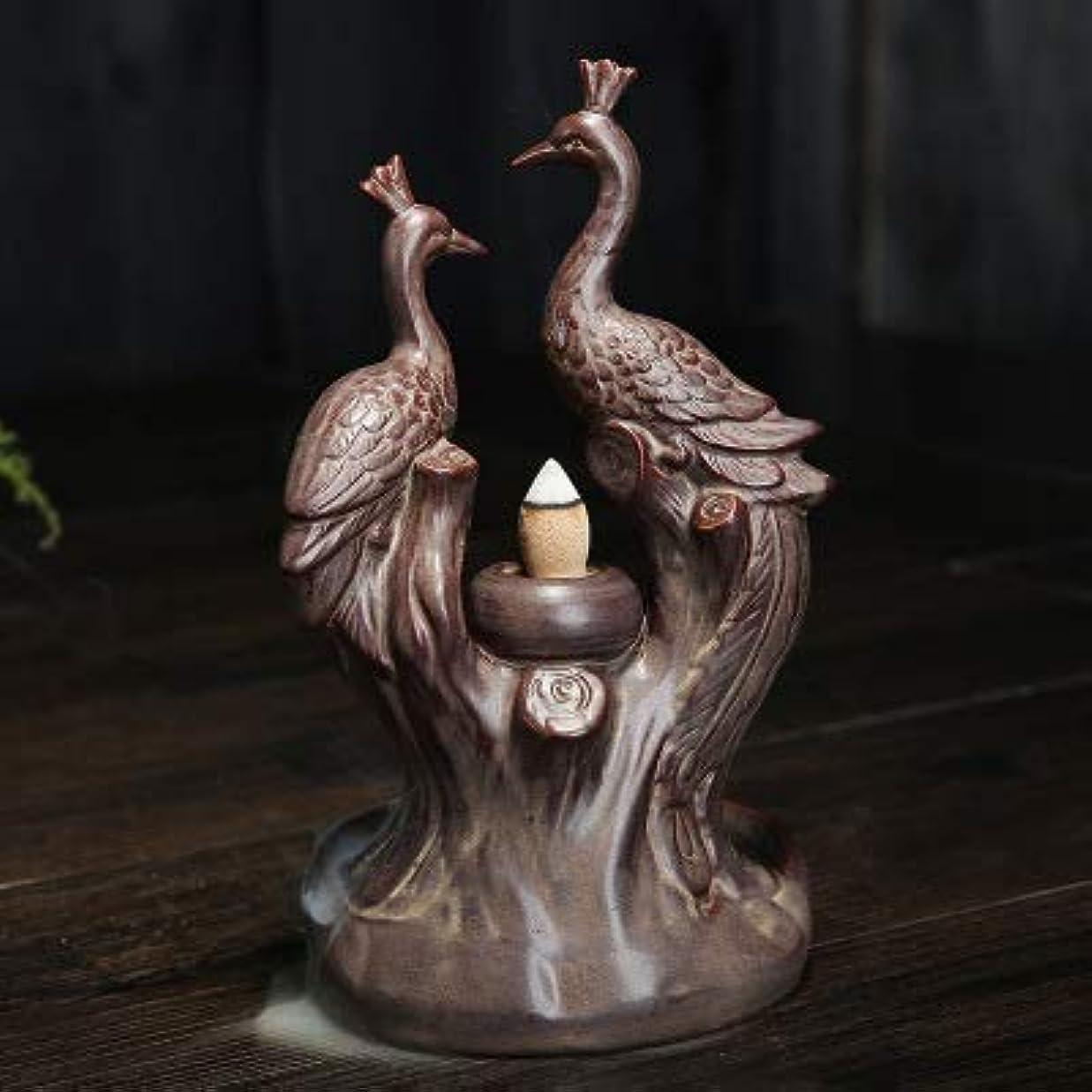 言い換えると便益パニックPHILOGOD 香炉 陶器孔雀スタイリング 逆流香炉 香置物 仏壇用香立て/香皿