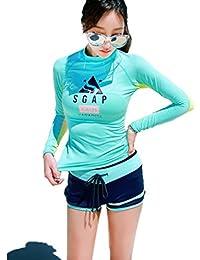 カップル水着 ペア水着 ペアルック セパレート レディース メンズ タンキニタンクトップ 着痩せ 体型カバー 潜水服 長袖 上下セット めくれ防止 ショートパンツ UV/紫外線カット サーフパンツ パット付 水陸両用