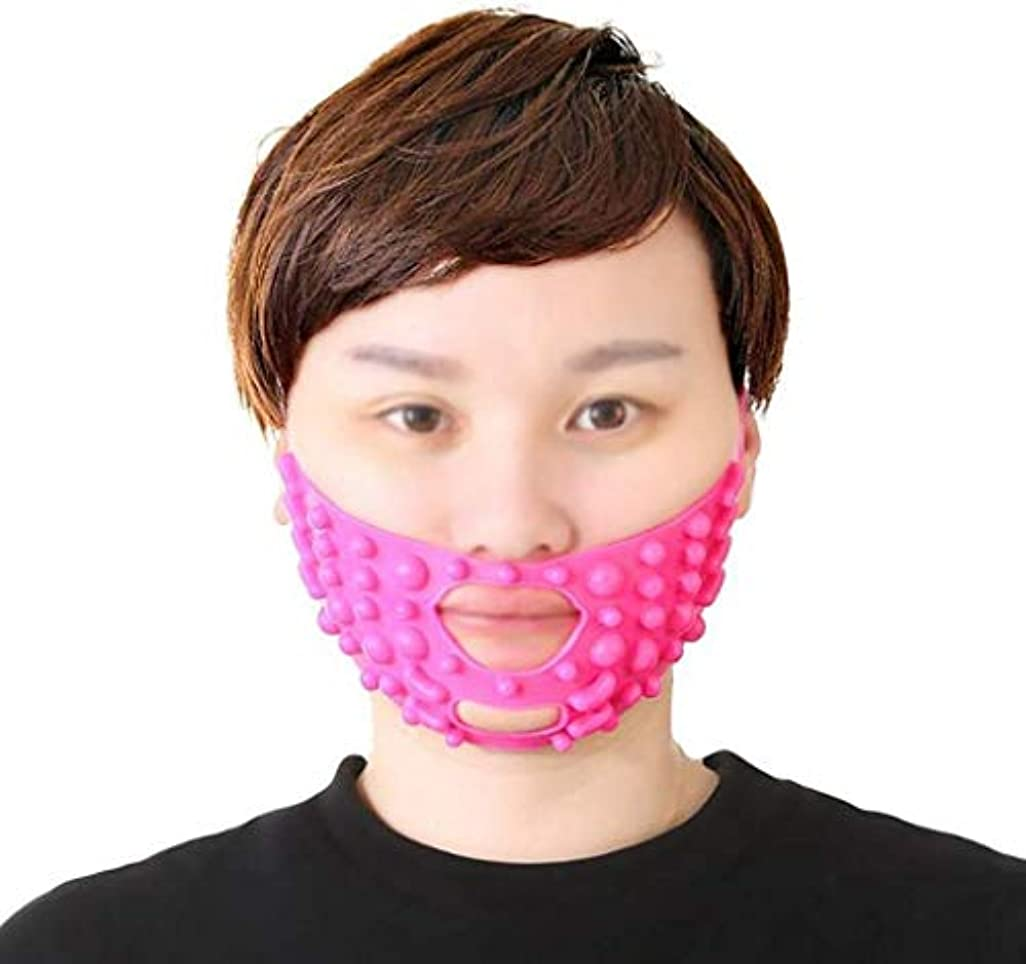 未払い修正する混雑美容と実用的なフェイスリフトマスク、チンストラップシリコーンVフェイスマスクフェイスマスク強力な包帯V顔アーティファクト小さなV顔包帯顔と首リフトピンクシリコーン包帯