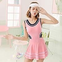 ワンピースの女性のスポーツ水着、スカート付きハイウエストスイミングコスチューム、ティーンエイジャーのための単色引き締め水着 (Color : Pink, Size : L)