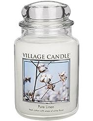 Village Candle Large Fragranced Candle Jar - 17cm x 10cm - 26oz (1219g)- Pure Linen - upto 170 hours burn time...