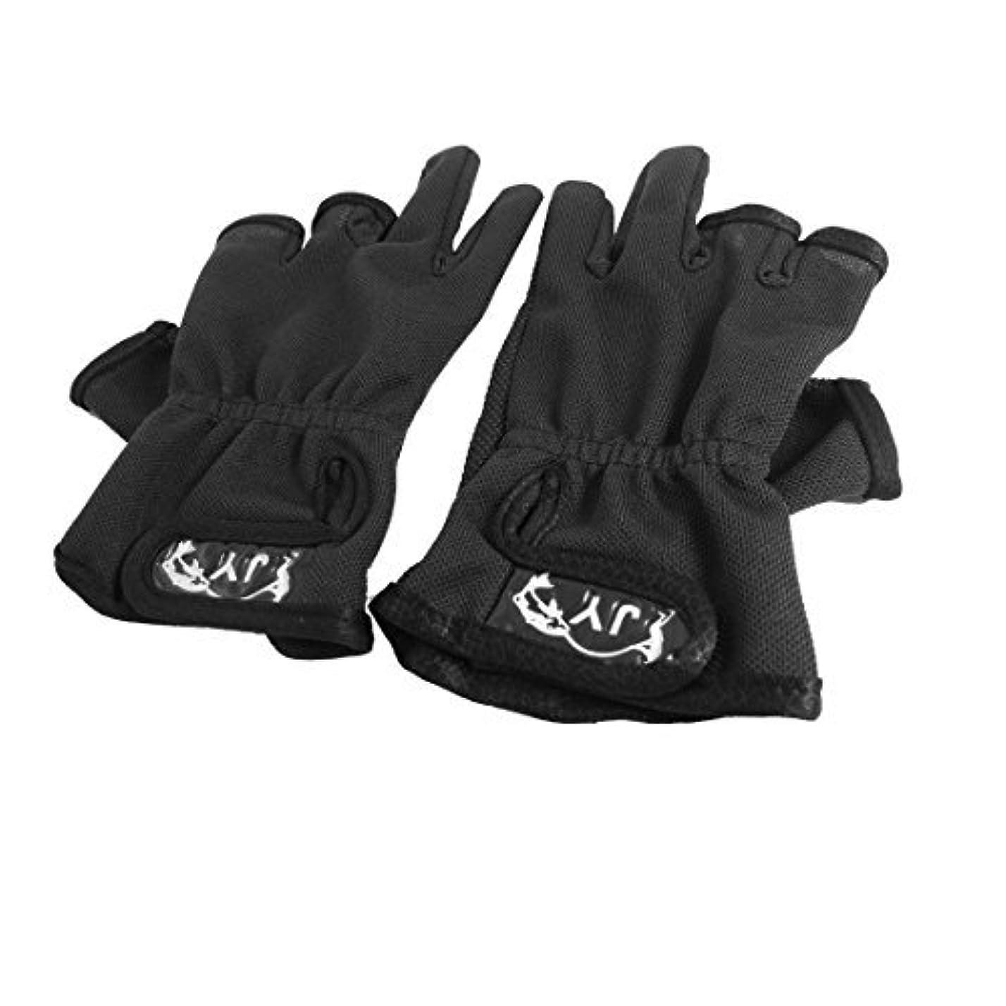 マウンド振るコカインループクロージャー3カット指の滑り止め釣り手袋ペアブラックフックDealMux