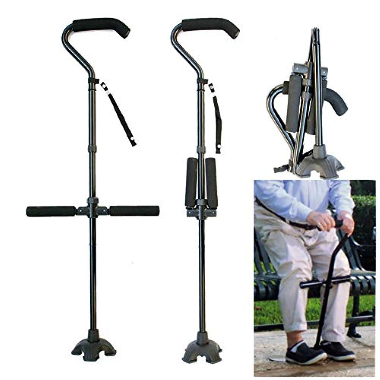 広範囲にマッサージ放射する松葉杖多機能折りたたみ格納式杖アルミ曲がった松葉杖でTハンドル古い四本足松葉杖