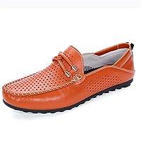 [MUMUWU ローファー] 靴 メンズ ドライビングシューズ 軽量 丈夫 レザー モカシン ビジネス 耐磨耗 (Color : Orange, サイズ : 27 CM)