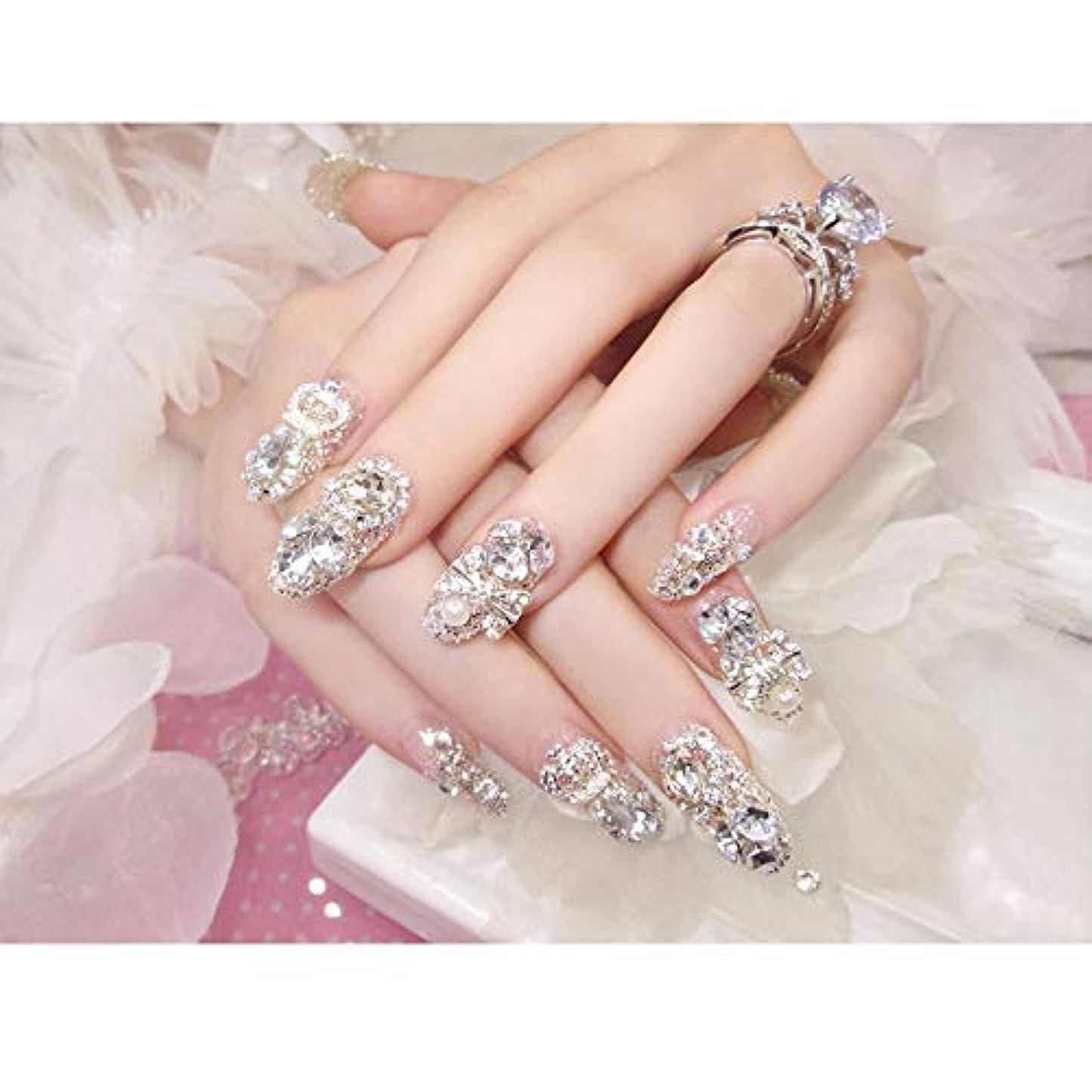 蜂ゴシップロマンチックHOHYLLYA 完成した偽の釘が24個箱入り偽の爪は、宝石ブライダルネイルステッカーシャイン (色 : 24 pieces)
