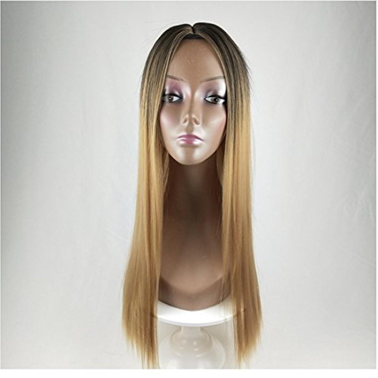 拡声器反発傷つけるJIANFU 合成 長い ストレート ヘア カラー グラデーション フル ウィッグ女性 ロングバンズ 耐熱 コスプレ/パーティー (Color : Black Gradient Linen Yellow)