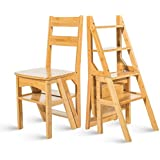 GLJJQMY Multifunctional Step Stool Solid Wood Double Stair Chair Herringbone Four-Story Stair Ladder Home Folding Chair 2 Color Optional (Color : Bamboo Color)