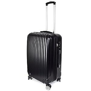 【神戸リベラル】LIBERAL 軽量スーツケース キャリーバッグ 容量アップ 8輪キャスター TSAロック付き (Mサイズ(3-5泊用 55/65L), ブラック)