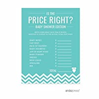 Andaz Press Diamond Blue Chevron Boy Baby Shower Collection, Games, Activities, Decorations, Is the Price Right Game Cards, 20-pack by Andaz Press