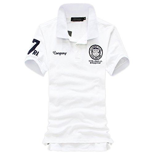 (シャンディニー) Chandeny おしゃれ メンズ ポロシャツ 半袖 ワッペン 付き ボタンダウン ゴルフウェア 07569 ホワイト 3XL サイズ