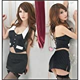 OL 衣装 黒ストッキング付き コスチューム ブラック レディース