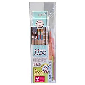 トンボ鉛筆 鉛筆 木物語 かきかた B プチギフト 水色柄 KB-KPF01G-B