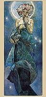 アルフォンス・ミュシャムーン Alphonse Mucha-Moon Painting silk fabric poster シルクファブリックポスター 70cm x 33cm