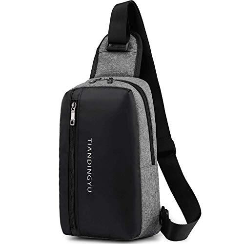 ボディバッグ メンズ ワンショルダー 斜め掛けバッグ ショルダーバッグ 軽量 防水 通勤 旅行 iPad収納可能 (グレー)