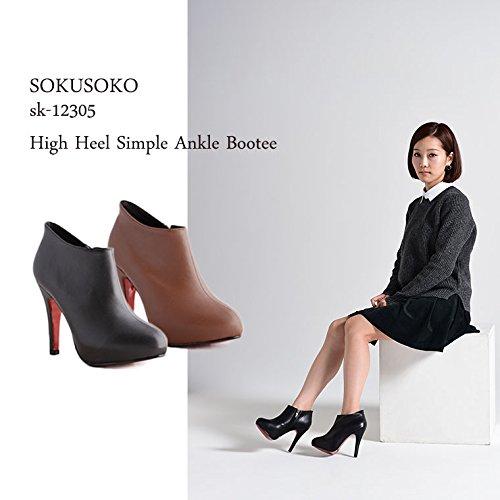(ソクソコ) SOKUSOKO sk-12305 ブーティ ラウンドトゥ スエード 24.5cm PuBlack