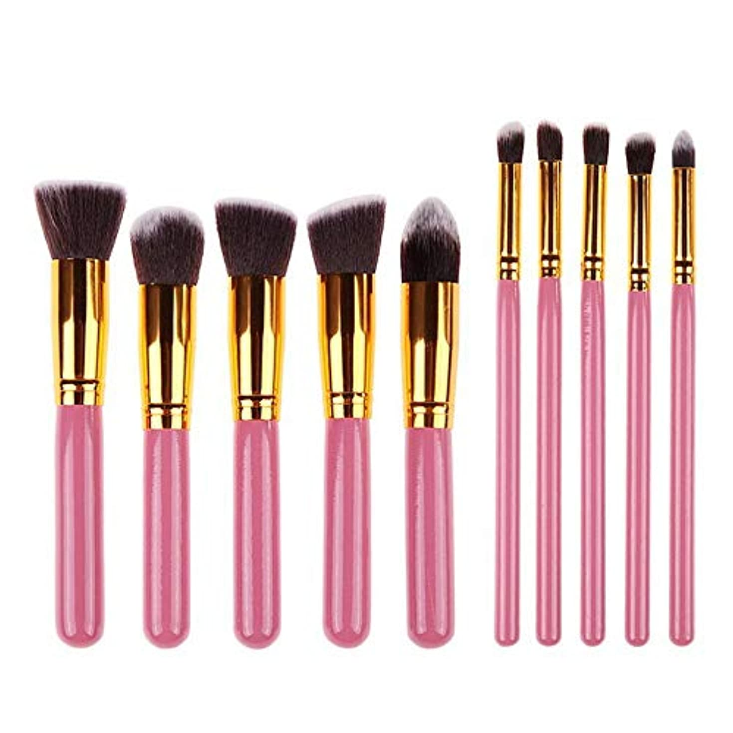 Makeup brushes 10ピースピンクメイクアップブラシセット革新的な簡単パウダーパウダーアイシャドウブラシ輪郭ブラシ suits (Color : Pink Gold)