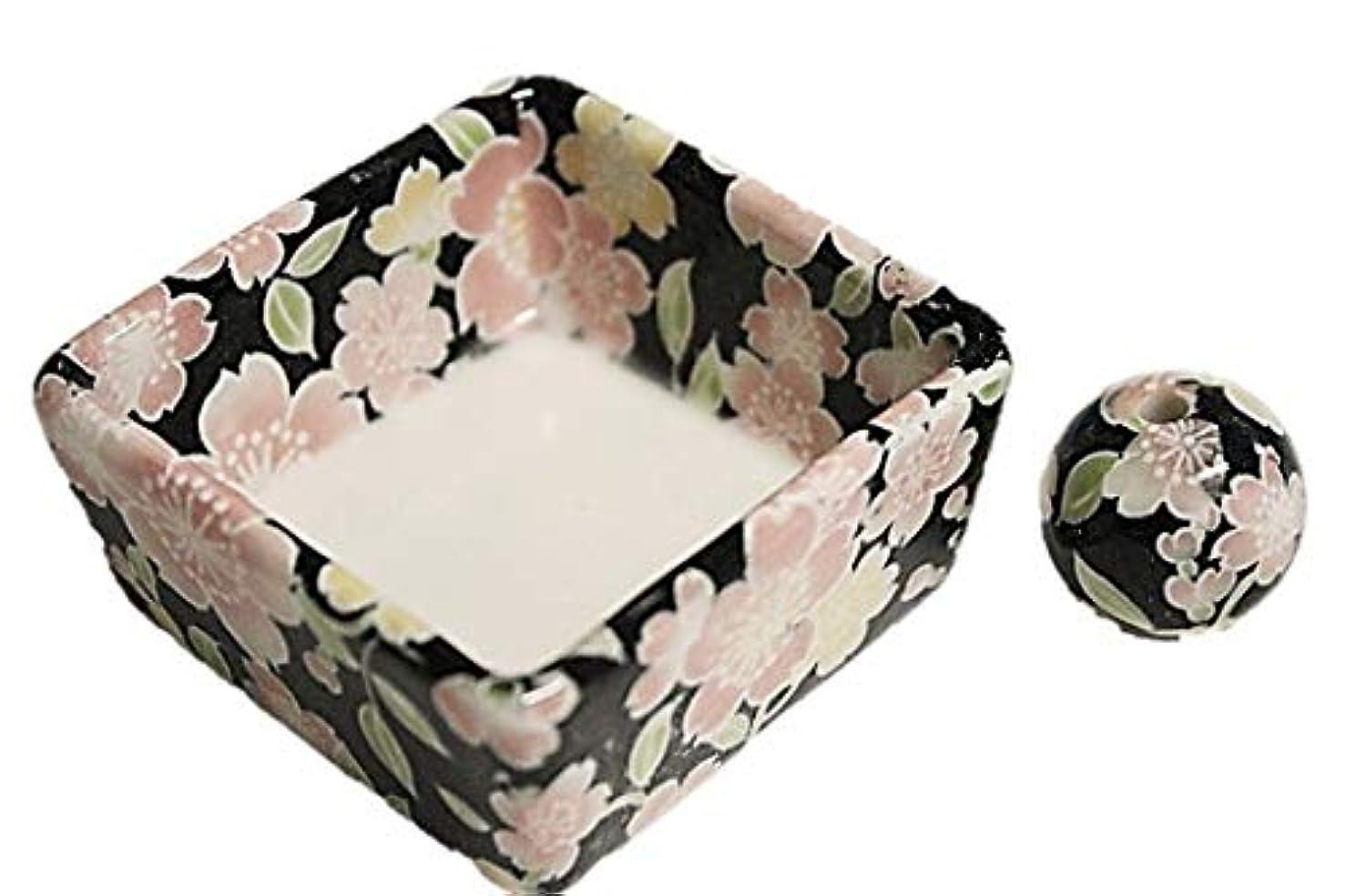 分析的童謡オフセット和モダン 桜友禅 お香立て 陶器 角鉢 製造直売品