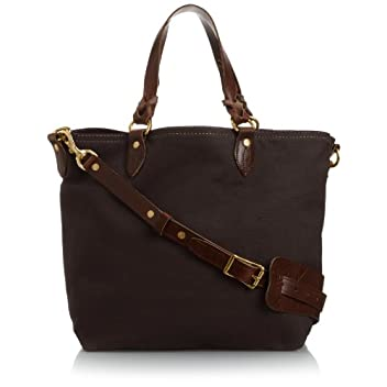 Medium Canvas Tote w/ Strap 8013: Brown / Olive