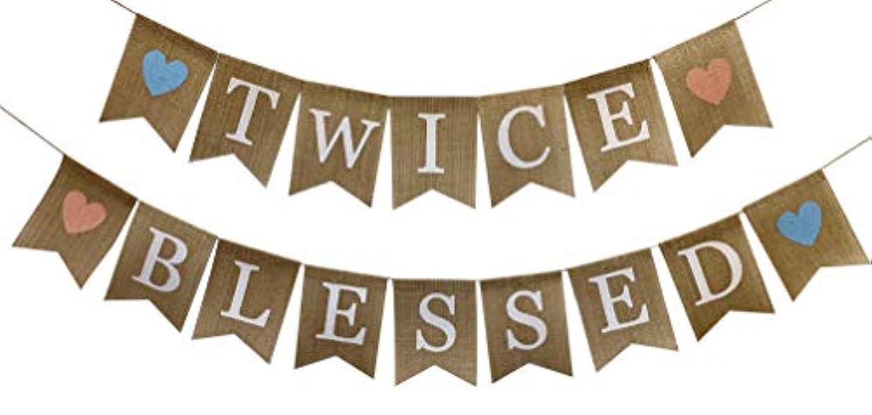 素朴な黄麻布 2回祝福されたバナー 双子のベビーシャワー 性別お披露目 パーティー用品とデコレーション 妊娠写真小道具 ツイン ボーイズ ガールズ バンティング 航海部屋装飾