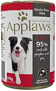 Applaws Grain Free Beef Pâté with pumpkin and peas - 370 g tins, complementary wet dog food for adult dogs of
