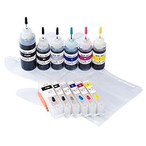 サンワダイレクト 互換インク キャノン BCI-351+350対応 汎用インクカートリッジ+詰め替えインクセット 6色セット 約3回分 オートリセットICチップ搭載 300-C350S6C