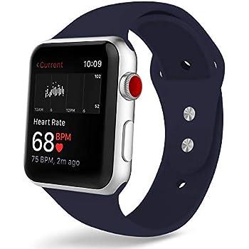 COVERY コンパチブル apple watch バンド,スポーツバンド シリコン製柔らかい アップルウォッチバンド コンパチブルiWatch交換ベルト 耐衝撃 防汗 apple watch series 4/3/2/1に対応 (38mm,40mm,ミッドナイトブルー)