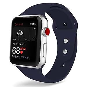 COVERY コンパチブル apple watch バンド,スポーツバンド シリコン製柔らかい アップルウォッチバンド コンパチブルiWatch交換ベルト 耐衝撃 防汗 apple watch series 4/3/2/1に対応 (42mm,44mm,ミッドナイトブルー)