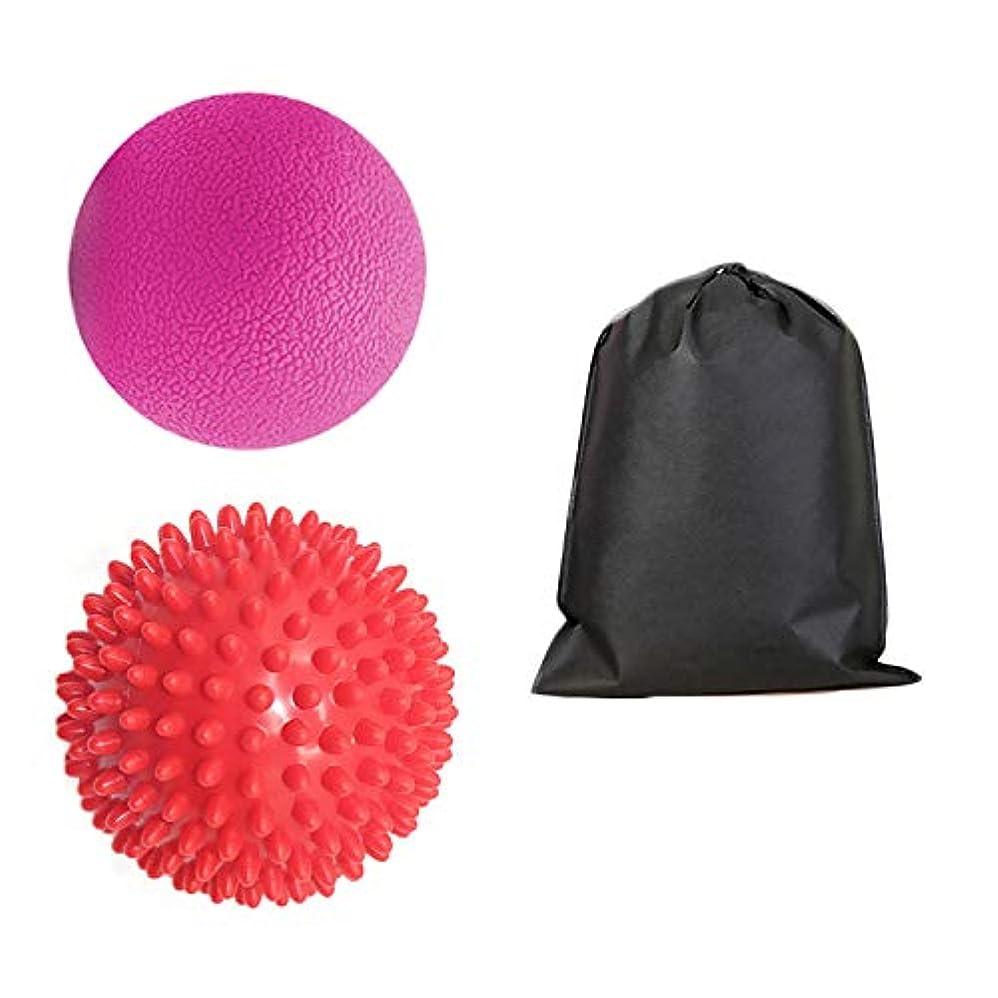 大理石気を散らす筋肉のMigavan 1個マッサージボールマッサージボールローラーマッサージボール+ 1袋スパイクマッサージローラーボールマッサージと収納バッグ