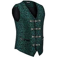 Men's Vest Waistcoat Damask Velvet Gothic Steampunk Aristocrat VTG/Brocade Vest (Medium, Green)