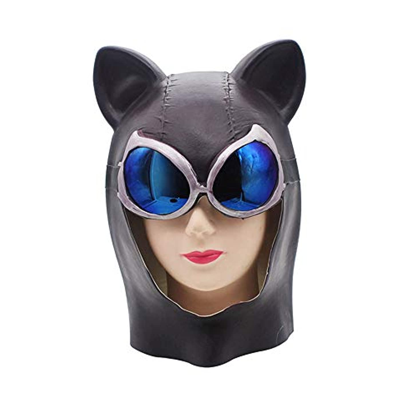 日付付きテレビシールドハロウィンホラーマスクヘッドギアプロムラテックスヘッドウェアバーパーティー小道具バットマンキャットウーマン映画