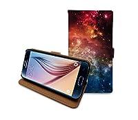 HelloGiftify Galaxy 星空 宇宙柄 カード入れ付き フリップレザーケース Samsung Galaxy S6 対応
