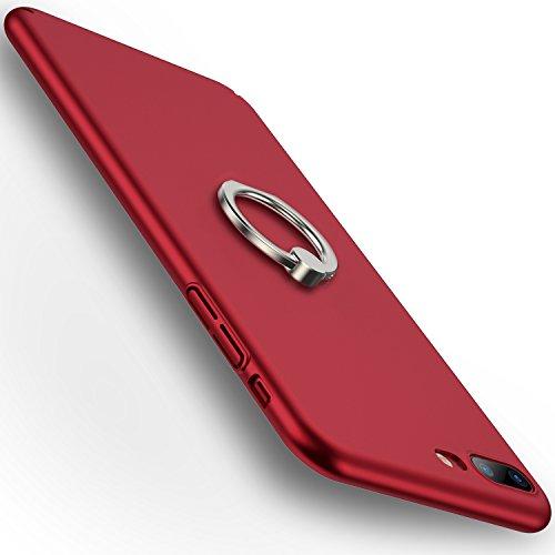 iPhone7Plusケース スマホケース アイフォン7用カバー リング付き 360度回転可能 超薄型 簡単でおしゃれ 手触り良い (iPhone 7 Plus,レッド)【RANVOO Authorized】