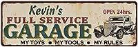 Chico Creek Signs ケビンのフルサービスガレージメタルサイン 6x18 Rusty Man Cave 206180047286