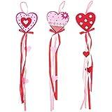 BESTOYARD ハートフェルトガーランド 吊り下げ紐ガーランド ロマンチックな装飾 バレンタインデーのデコレーション レッド ランダムパターン 3個