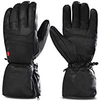 Savior Heated Gloves for Men and Women,Full Leather Gloves for Skiing,Skating,Arthritis Gloves,7.4V 2200 Mah Electric Rechargeable Batteries gloves, Works Up To 2.5-5 Hours