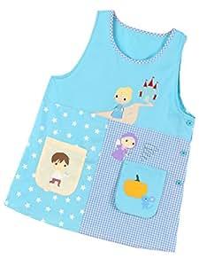 【382385 ブルーM-L】 エプロン おはなし 童話 シンデレラ プリンセス しかけポケット おべんきょう 幼稚園 保育士 保育園 M-L LL-3L