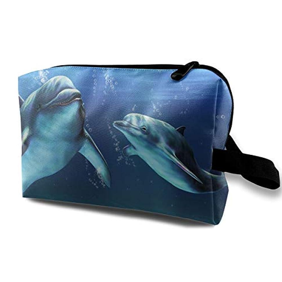 ホイップグリース挑むHappy Dolphins 収納ポーチ 化粧ポーチ 大容量 軽量 耐久性 ハンドル付持ち運び便利。入れ 自宅?出張?旅行?アウトドア撮影などに対応。メンズ レディース トラベルグッズ