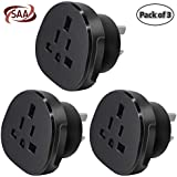 SAA Approved UK/US/JP/CA to AU/NZ Adaptor Plug with Insulated Pins, UK/US Plug Convert to 3-Pin Australian/New Zealand/China Socket (Pack of 3 Black)